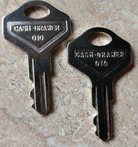 Pair 010 POS Cash Drawer Keys for Star, NCR, Aloha, M-S, Breadcrumb 010R 010L