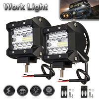 2pc4inch 200W CREE LED Work Driving Light Bar Combo Beam Flush Mount 12V Reverse