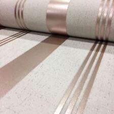 Stripe Wallpaper Luxury Textured Vinyl Glitter Rose Gold Quartz Fine Decor