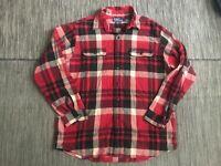 Polo Ralph Lauren Matlock Mens Large Button Up Flannel Shirt Long Sleeve Red