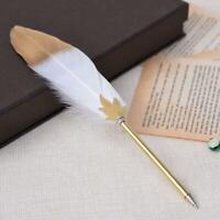White Kawaii Feather Gel Pen Novelty Cute Pens Gift Office School Writing-