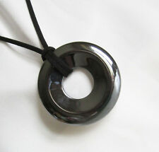 Large Size 50mm HEMATITE STONE DONUT BEAD Pendant With Cord Necklace