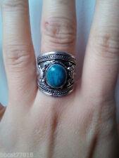Handmade Nepal Tibetan silver inlaid crystal on feldspar gem ring