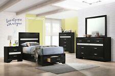 GLITTERY 4 PC BLACK 3D FOIL TWIN STORAGE N/S DRESSER BED BEDROOM FURNITURE SET