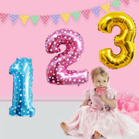 "32"" Giant Foil Balloons Number Shape Helium Wedding Birthday Decor Party Supply"