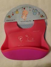 "2 Pc Silicone Baby Bib Waterproof Purple Rose Red Soft Safe Adjustable 9"" Pocket"