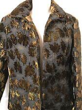 Harve Benard Quilted Leaves Women's Long Sleeve Jacket Black Brown Fall/Winter 6