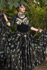 Bloque de danza del vientre tribal de impresión Pavo Real Negro Schwarz