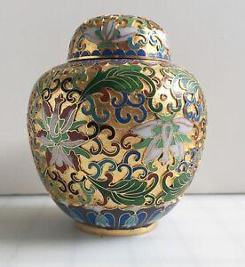 """Vintage CLOISONNE 5"""" Brass Enamel Chinese Oriental Urn Ginger Jar Vase w/ Lid"""