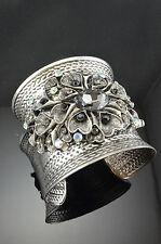 Antique Silver Tone Metal Heart Shape Faux Oval Rhinestone Crystal Bracelets