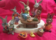 Lot 24 Vintage Easter Bunny Rabbits Ceramic Glenview Figurines and platform