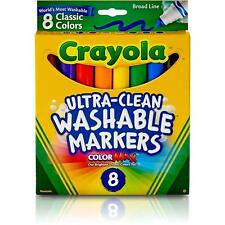 Crayola Classic Washable Water Based Markers 8 Colors Max Broad Line 7808 new