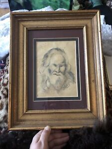 Antique (?) Pencil drawing of an old man framed gilded frame