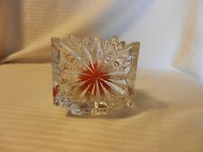 Triangular Shaped Crystal Votive Candle Holder With Starburst and Serrated Edges