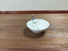Dollhouse Miniature White Round Sink Top for Kitchen or Bathroom Ceramic 1:12