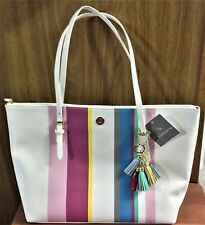 "NWT Liz Claiborne ""Lilly"" Tote -  Spring Color Stripes on White  11""T x 17.25""W"