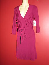 LAUREN Ralph Lauren Women's Dark Pink Stretch Long Tie Dress - Size PS - NWT