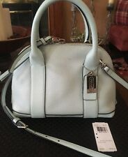 COACH 30143 BLEECKER MINI PRESTON Pebbled Leather Pale Blue Crossbody Domed Bag