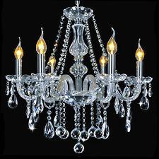 Lampadario di Cristallo 6 a lume di Candela Trasparente Lampada a Sospensione