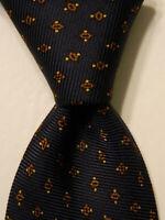 KITON Seven Fold Men's 100% Silk Necktie ITALY Luxury Geometric Blue/Brown EUC