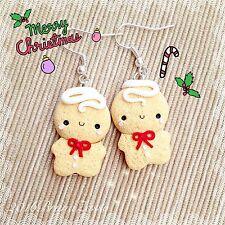 Orecchini Omino Marzapane Zenzero ~ Cute Gingerbread Earrings Fimo Christmas