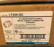 "Box of 5 THOMAS BETTS 2"" LIQUIDTIGHT FLEXIBLE METAL CONDUIT CONNECTORS STRAIGHT"
