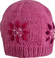 Wool Winter Cap Beanie Hat Unisex Ski Warm Handmade Fleece Knit Thermal Pink