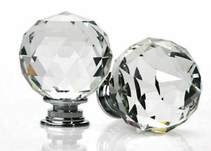 Crystal Diamond Glass Door Knobs Cupboard Drawer Furniture Cabinet Handle Clear