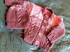 hand knitted baby set jacket/cardigan & hat pink brown  3-6 months