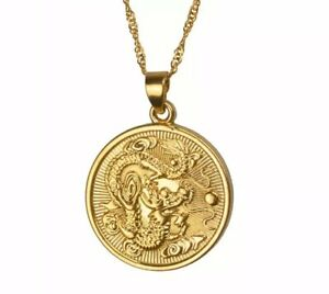 Beautiful 18K Gold Plated Lucky Dragon Pendant & Chain Necklace Jewellery