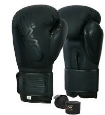 EVO Matte Leather GEL Boxing Gloves MMA Punch Bag Sparring Muay Thai Fight
