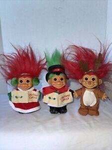 """3 CUTE Vintage Troll Dolls 4 1/2"""" Russ Christmas Mr. & Mrs Carols Reindeer 90s"""