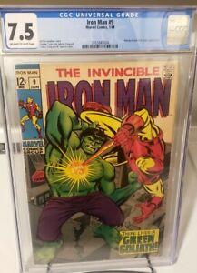 IRON MAN #9 CGC 7.5! Classic Hulk Cover! 1968 BRAND NEW CASE! Beautiful copy OWW