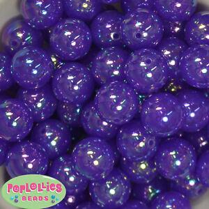 20mm Purple AB Finish  Acrylic Bubble Bubblegum Beads Lot 20 pc Chunky