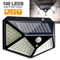 100 LED Solar Powered PIR Motion Sensor Light Outdoor Garden Security Wall Light