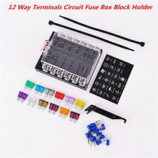 Car Boat 12 Way Standard Terminals Circuit ATO ATC Blade Fuse Box Block Holder
