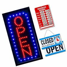 Ultima Led Neon Open Sign for Business: Vertical Lighted Sign Open with Flash.