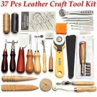 37pcs/set Lederbearbeitung Kit Hand Sewing Stitching Carving Lederbearbeitung