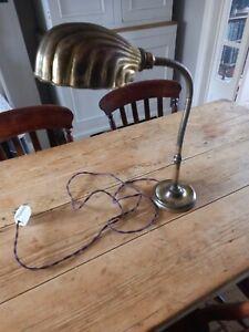 Edwardian Brass Gooseneck Clam Shell Shade Library Lamp
