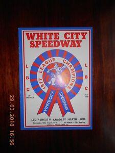 WHITE CITY   LBC REBELS v CRADLEY HEATH  30 AUGUST 1978