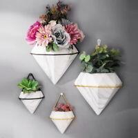 1 Set Ceramic Flowers Pot Marbling Succulent Planter Wall Hanging Plant Holders