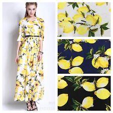 XQ9587 Per Meter 1.09 Yd Lemon Print 100% Cotton Poplin Fabric