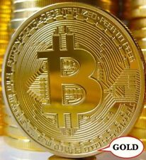 Golden Rare Collectible Golden Iron Bitcoin Commemorative Plated Miner Coin Gift