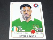 CHRISTIE DERBY COUNTY IRELAND EIRE EXTRA STICKER PANINI FOOTBALL UEFA EURO 2016