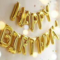 Gold Happy Birthday Foil Balloon Banner Bunting  Self Seal Party Decoration
