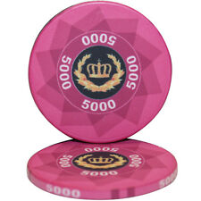 50pcs LAUREL CROWN CERAMIC POKER CHIPS 5000 DENOMINATION