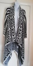 AZTEC PRINT LONG FLUFFY WATERFALL CARDIGAN - ONE SIZE