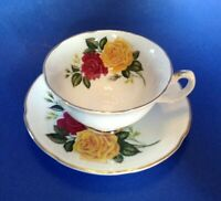 Royal Grafton Pedestal Tea Cup And Saucer - Red And Yellow Roses - England