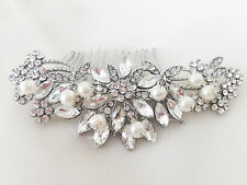 ELISE Silver Bridal Hair Comb, Sparkly, Rhinestone, Pearl, Flower, Slide