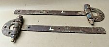 ANTIQUE heavy WOOD DOOR HARDWARE FORGED IRON HINGES UNCOMMON HUGE SIZE 2 PCS.